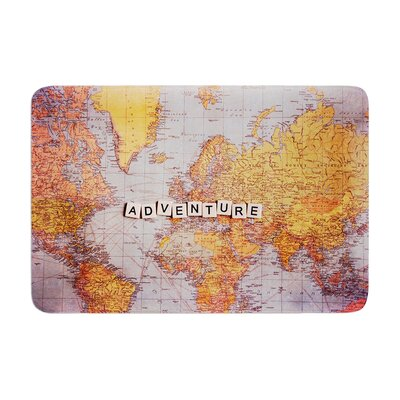 Sylvia Cook Adventure Map World Memory Foam Bath Rug