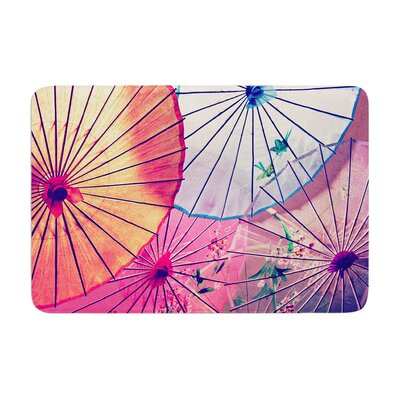 Sylvia Cook Colorful Umbrellas Memory Foam Bath Rug