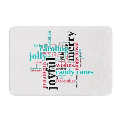 Sylvia Cook Holiday Traditions Christmas Typography Memory Foam Bath Rug