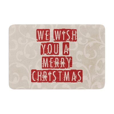 Sylvia Cook We Wish You a Merry Christmas Holiday Memory Foam Bath Rug