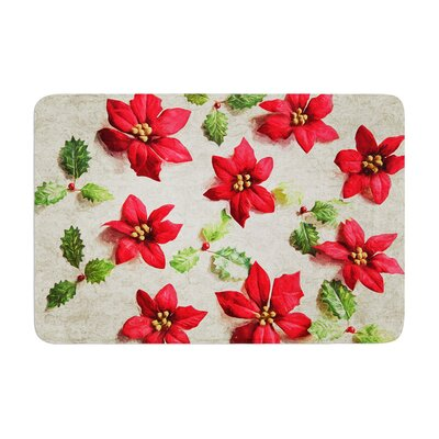 Sylvia Cook Poinsettia Holiday Leaves Memory Foam Bath Rug