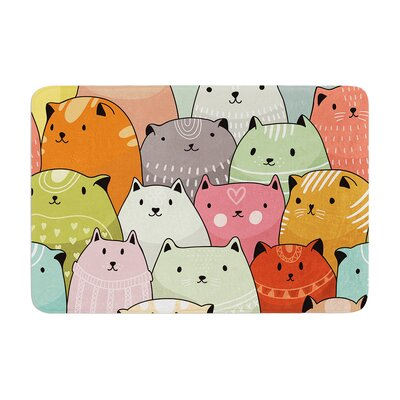 Snap Studio Kitty Attack Cat Illustration Memory Foam Bath Rug