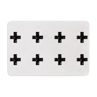 Skye Zambrana Swiss Cross Simple Memory Foam Bath Rug Color: White