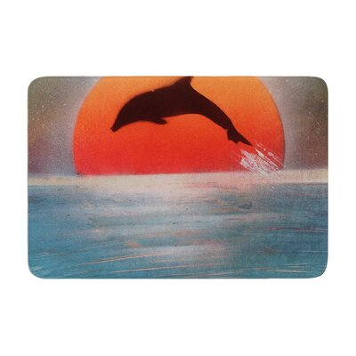 Infinite Spray Art Dolphin Sunset Memory Foam Bath Rug