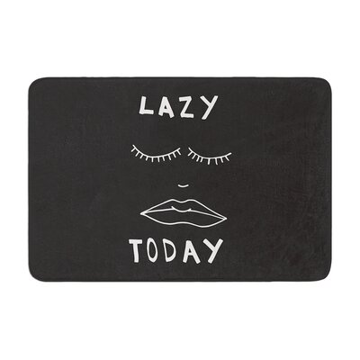 Vasare Nar Lazy Today Typography Memory Foam Bath Rug Color: Gray