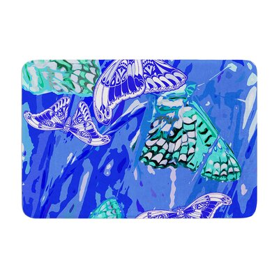 Vikki Salmela Butterflies Party Memory Foam Bath Rug Color: Blue