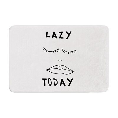 Vasare Nar Lazy Today Typography Memory Foam Bath Rug Color: White
