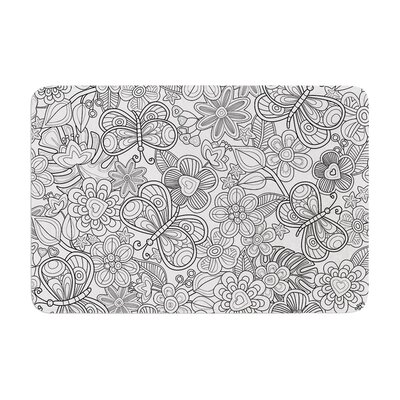 Julia Grifol My Butterflies and Flowers Memory Foam Bath Rug