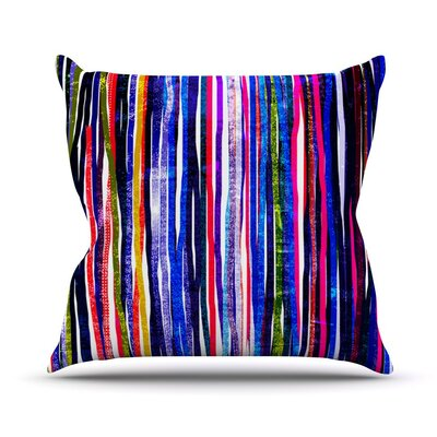 Fancy Stripes by Frederic Levy-Hadida Throw Pillow Size: 20 H x 20 W x 1 D, Color: Purple
