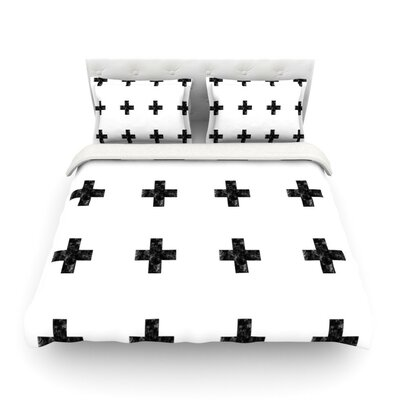 Swiss Cross by Skye Zambrana Simple Featherweight Duvet Cover Size: King/California King, Color: White Color: White, Size: Twin