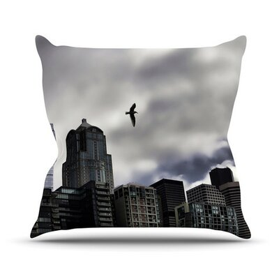 Seattle Skyline by Sylvia Cook City Clouds Throw Pillow Size: 18 H x 18 W x 3 D