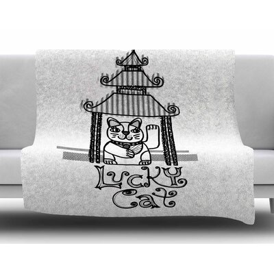 Lucky Cat by Jane Smith Fleece Blanket