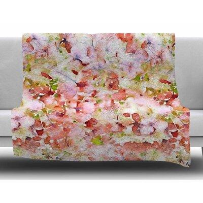 Floral Fantasy by Carolyn Greifeld Fleece Blanket Color: Orange