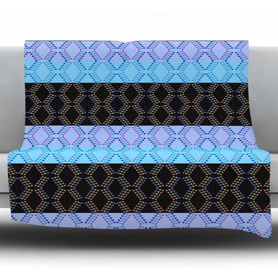 Denin Diamond by Nina May Fleece Throw Blanket Size: 40 H x 30 W x 1 D, Color: Blue/Black