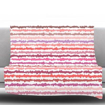 Blush Stripes by Nandita Singh Fleece Throw Blanket Size: 60 H x 50 W x 1 D