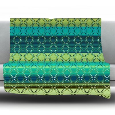Denin Diamond by Nina May Fleece Throw Blanket Size: 80 H x 60 W x 1 D, Color: Gradient Green