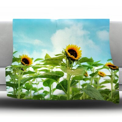 Sunflower Field by Sylvia Cook Fleece Throw Blanket Size: 90 H x 90 W x 1 D