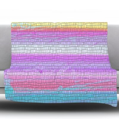 Drip Dye Warm Strid by Nina May Fleece Throw Blanket Size: 90 H x 90 W x 1 D