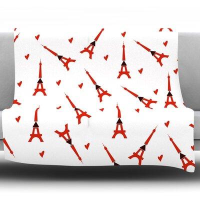 Paris by Louise Fleece Throw Blanket Size: 80 H x 60 W x 1 D