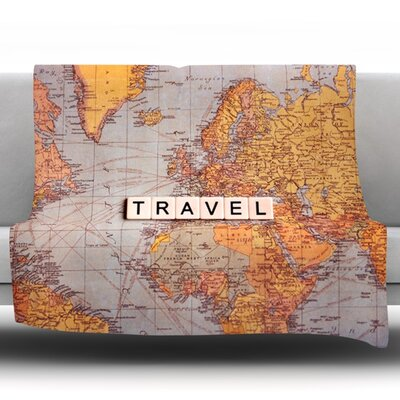 Travel Map by Sylvia Cook Fleece Throw Blanket Size: 80'' H x 60'' W x 1