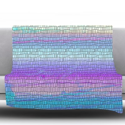 Drip Dye Cool Strid by Nina May Fleece Throw Blanket Size: 80 H x 60 W x 1 D