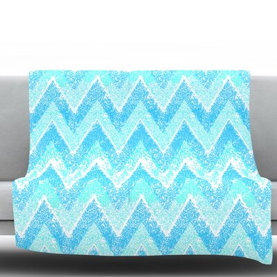 Mint Snow Chevron by Marianna Tankelevich Fleece Throw Blanket Size: 40 H x 30 W x 1 D