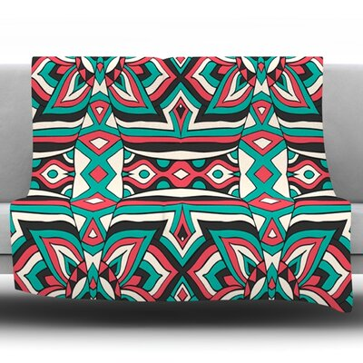 Ethnic Floral Mosaic by Pom Graphic Design Fleece Throw Blanket Size: 60 H x 50 W x 1 D