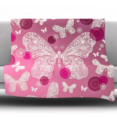 Butterfly Dreams Ombre by Monika Strigel Fleece Throw Blanket Size: 80 H x 60 W x 1 D, Color: Pink/Magenta