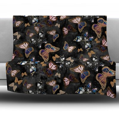 Galactic Butterfly by Nikki Strange Fleece Throw Blanket Size: 40 H x 30 W x 1 D