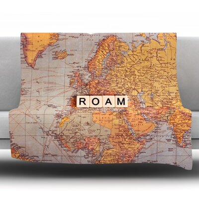 Roam Map by Sylvia Cook Fleece Throw Blanket Size: 90 H x 90 W x 1 D