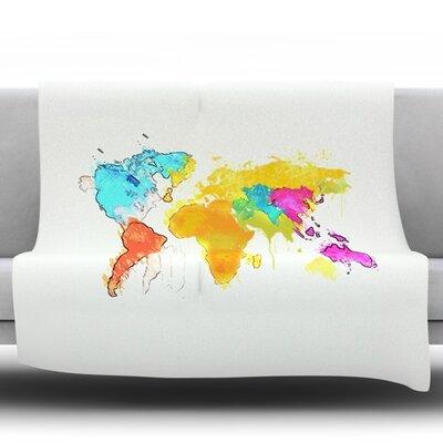 World Map by Oriana Cordero Fleece Throw Blanket Size: 40 H x 30 W x 1 D