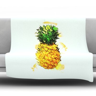 Slice of Summer by Oriana Cordero Fleece Throw Blanket Size: 90 H x 90 W x 1 D