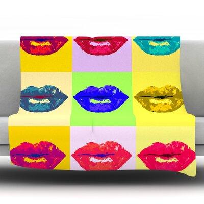 Pop Kiss by Oriana Cordero Fleece Throw Blanket Size: 90 H x 90 W x 1 D