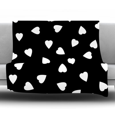 Hearts by Suzanne Carter Fleece Throw Blanket Size: 40 H x 30 W x 1 D, Color: Black