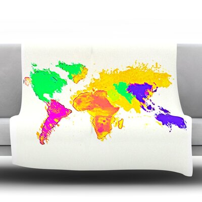 My World by Oriana Cordero Micro Fiber Fleece Throw Blanket Size: 60 H x 50 W x 1 D