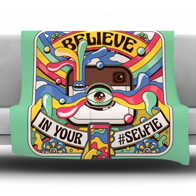Selfie by Roberlan Fleece Throw Blanket Size: 80 H x 60 W x 1 D