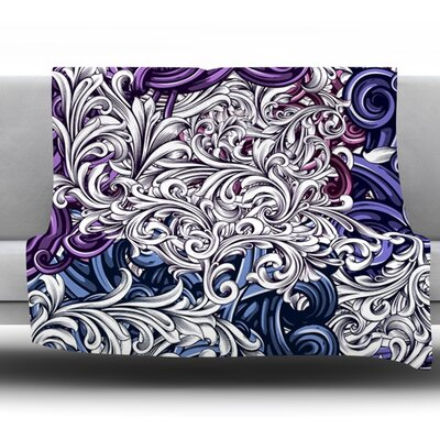 Celtic Floral I by Nick Atkinson Fleece Throw Blanket Size: 80 H x 60 W x 1 D