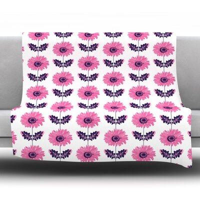Gerbera by Laura Escalante Fleece Throw Blanket Size: 80 H x 60 W x 1 D, Color: Pink
