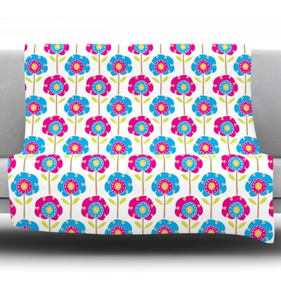 Lolly Flowers by Apple Kaur Designs Fleece Throw Blanket Size: 80 H x 60 W x 1 D