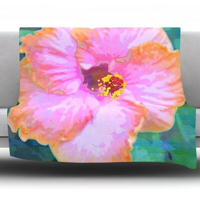 Hibiscus by Sylvia Cook Fleece Throw Blanket Size: 40 H x 30 W x 1 D
