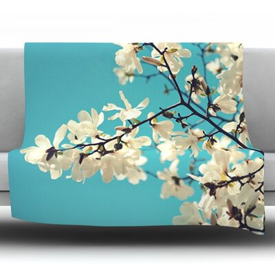 Magnolias by Sylvia Cook Fleece Throw Blanket Size: 90 H x 90 W x 1 D