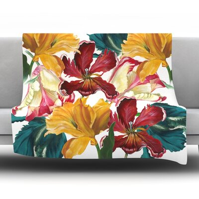 Flower Power by Lydia Martin Fleece Throw Blanket Size: 60 H x 50 W x 1 D