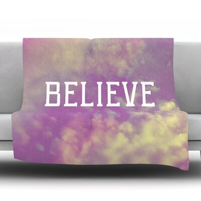 Believe by Rachel Burbee Fleece Throw Blanket Size: 80 H x 60 W x 1 D