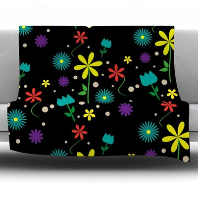 Flower I by Louise Fleece Throw Blanket Size: 80 H x 60 W x 1 D