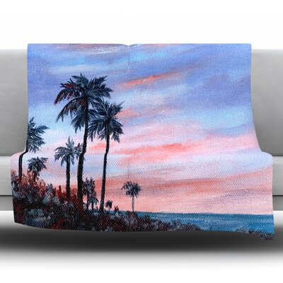 Florida Sunset by Rosie Fleece Throw Blanket Size: 60 H x 50 W x 1 D