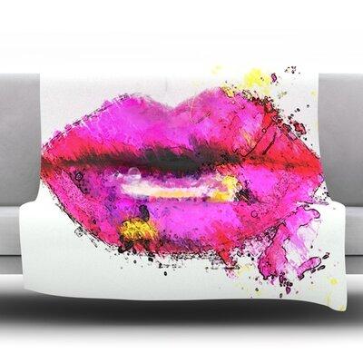 Kiss Me by Oriana Cordero Fleece Throw Blanket Size: 90 H x 90 W x 1 D
