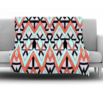 Geometric Mountains by Pom Graphic Design Fleece Throw Blanket