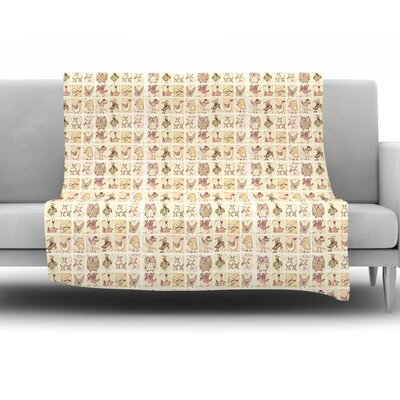 Cute Birds by Marianna Tankelevich Fleece Throw Blanket Size: 80 H x 60 W x 1 D, Color: Tan