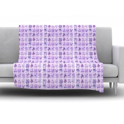 Cute Birds by Marianna Tankelevich Fleece Throw Blanket Size: 40 H x 30 W x 1 D, Color: Purple