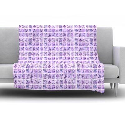 Cute Birds by Marianna Tankelevich Fleece Throw Blanket Color: Purple, Size: 80 H x 60 W x 1 D
